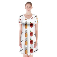 Ppap Pen Pineapple Apple Pen Short Sleeve V-neck Flare Dress