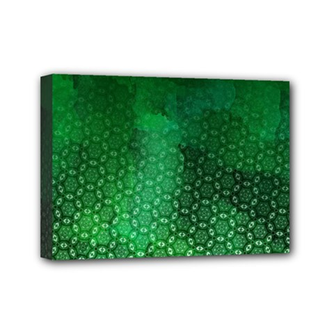 Ombre Green Abstract Forest Mini Canvas 7  x 5