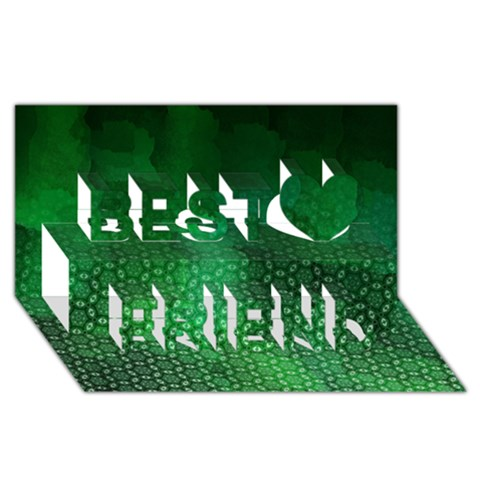 Ombre Green Abstract Forest Best Friends 3D Greeting Card (8x4)