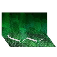 Ombre Green Abstract Forest Twin Heart Bottom 3d Greeting Card (8x4)