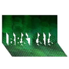 Ombre Green Abstract Forest Best Sis 3d Greeting Card (8x4)