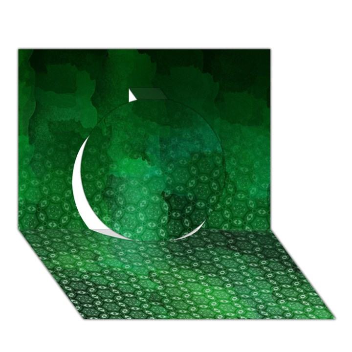 Ombre Green Abstract Forest Circle 3D Greeting Card (7x5)