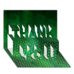 Ombre Green Abstract Forest THANK YOU 3D Greeting Card (7x5)