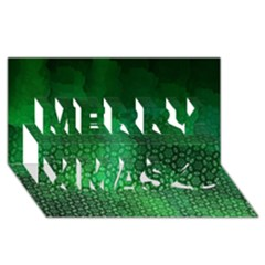 Ombre Green Abstract Forest Merry Xmas 3d Greeting Card (8x4)