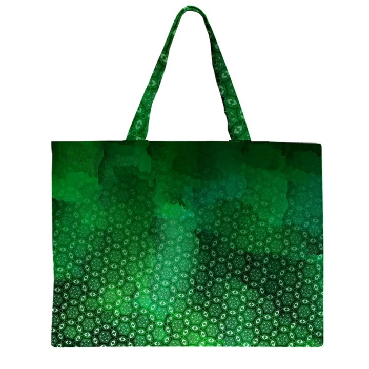Ombre Green Abstract Forest Large Tote Bag