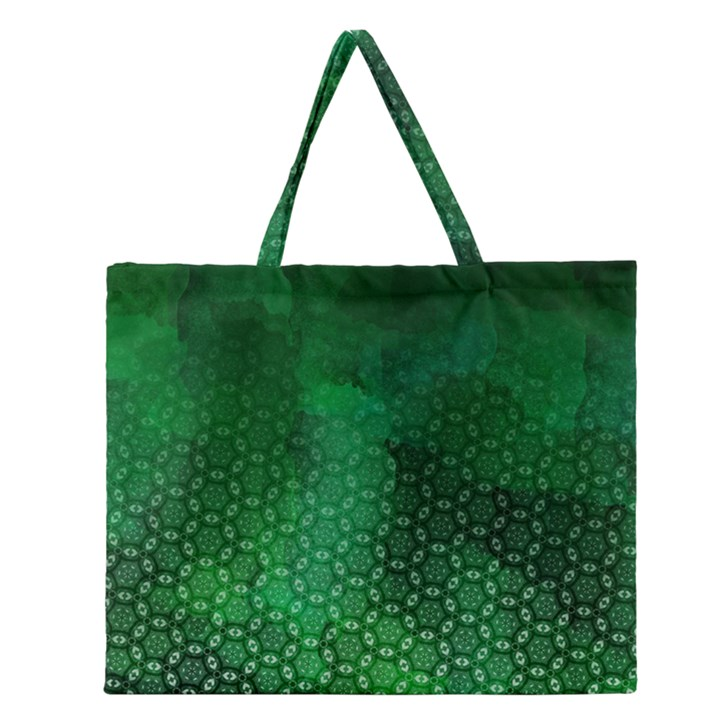 Ombre Green Abstract Forest Zipper Large Tote Bag