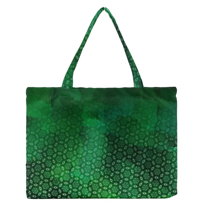 Ombre Green Abstract Forest Medium Zipper Tote Bag