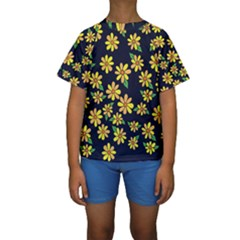 Daisy Flower Pattern For Summer Kids  Short Sleeve Swimwear