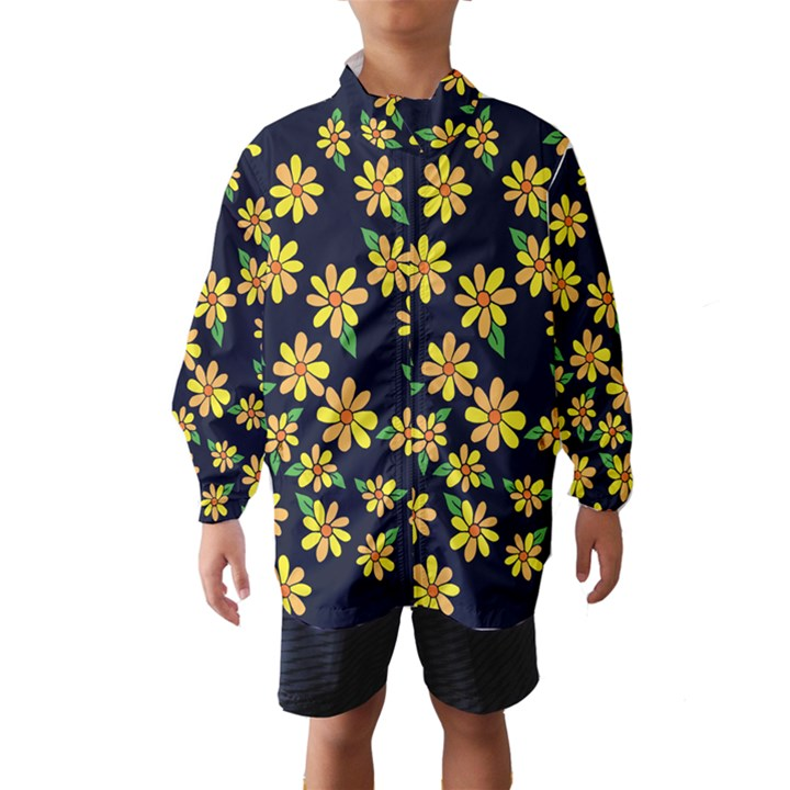 Daisy Flower Pattern For Summer Wind Breaker (Kids)