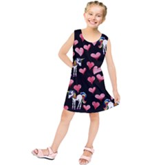 Retro Unicorns Heart Kids  Tunic Dress