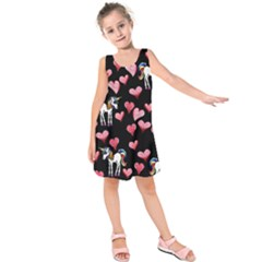 Retro Unicorns Heart Kids  Sleeveless Dress