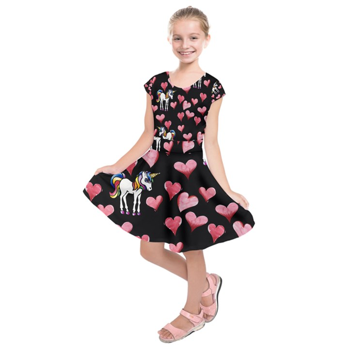 Retro Unicorns Heart Kids  Short Sleeve Dress