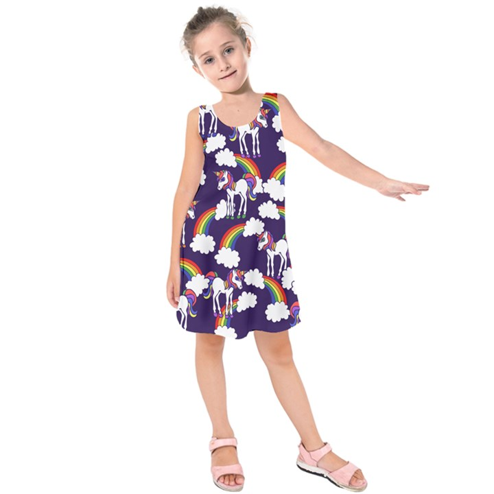 Retro Rainbows And Unicorns Kids  Sleeveless Dress