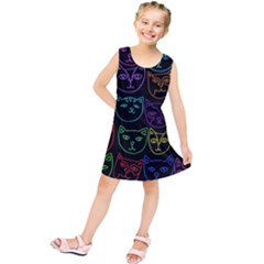 Retro Rainbow Cats  Kids  Tunic Dress