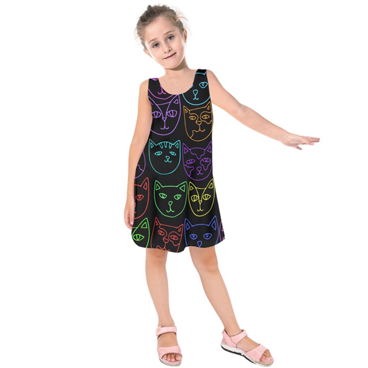 Retro Rainbow Cats  Kids  Sleeveless Dress