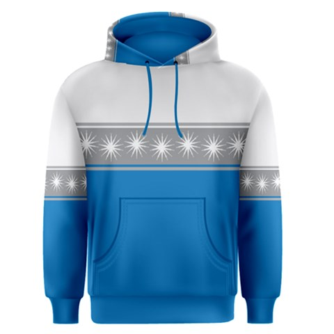 Snowflakes On Blue Men s Pullover Hoodie