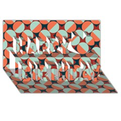 Modernist Geometric Tiles Happy Birthday 3D Greeting Card (8x4)