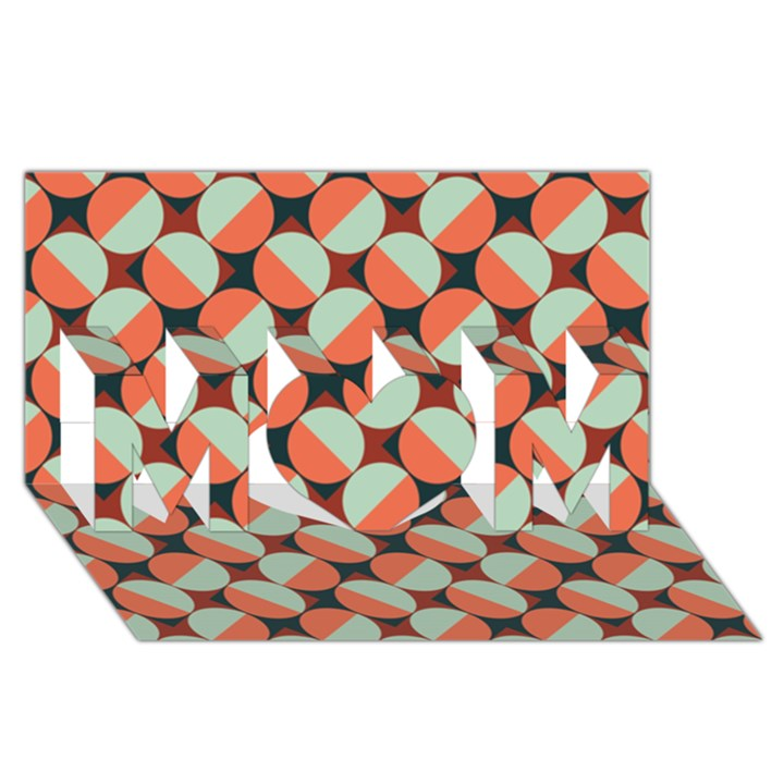 Modernist Geometric Tiles MOM 3D Greeting Card (8x4)