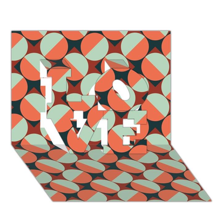 Modernist Geometric Tiles LOVE 3D Greeting Card (7x5)