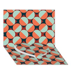 Modernist Geometric Tiles Heart Bottom 3d Greeting Card (7x5)