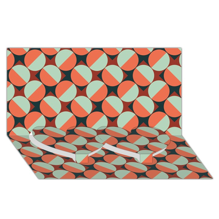 Modernist Geometric Tiles Twin Heart Bottom 3D Greeting Card (8x4)