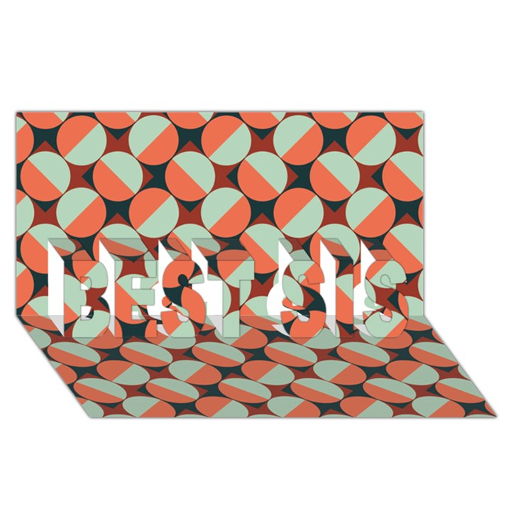 Modernist Geometric Tiles BEST SIS 3D Greeting Card (8x4)