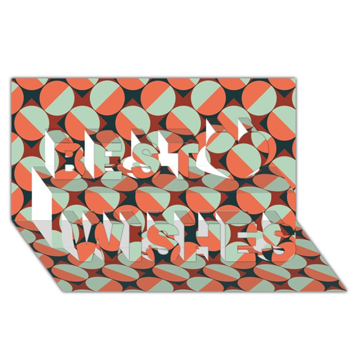 Modernist Geometric Tiles Best Wish 3D Greeting Card (8x4)
