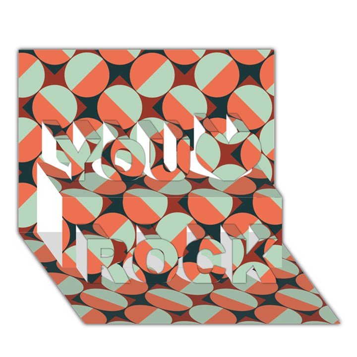 Modernist Geometric Tiles You Rock 3D Greeting Card (7x5)