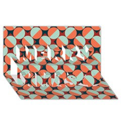 Modernist Geometric Tiles Merry Xmas 3d Greeting Card (8x4)