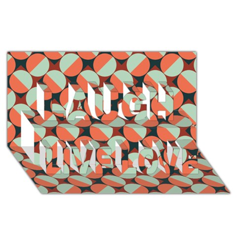 Modernist Geometric Tiles Laugh Live Love 3D Greeting Card (8x4)