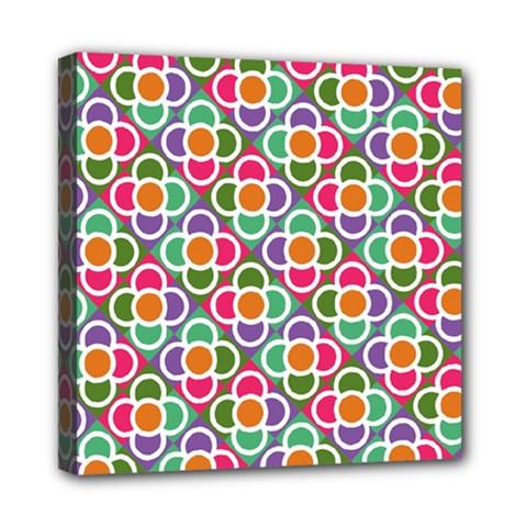 Modernist Floral Tiles Mini Canvas 8  X 8