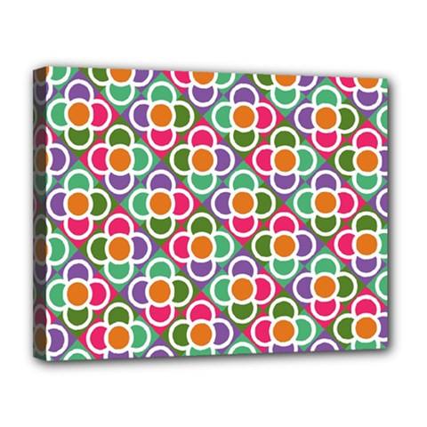 Modernist Floral Tiles Canvas 14  x 11
