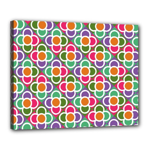 Modernist Floral Tiles Canvas 20  X 16