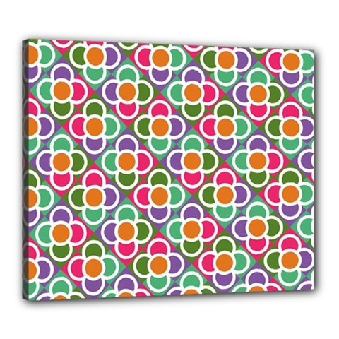 Modernist Floral Tiles Canvas 24  x 20