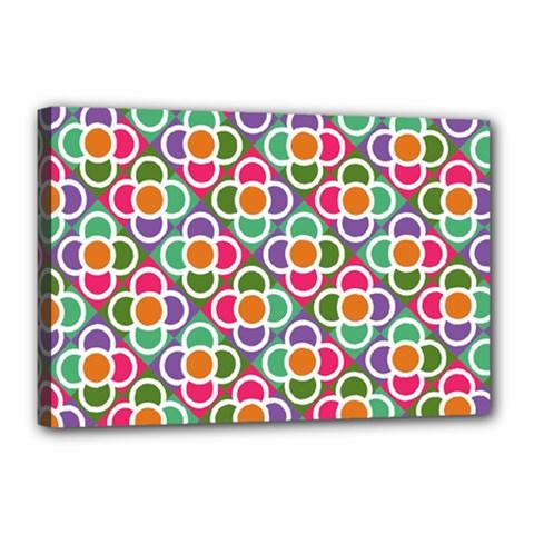 Modernist Floral Tiles Canvas 18  x 12