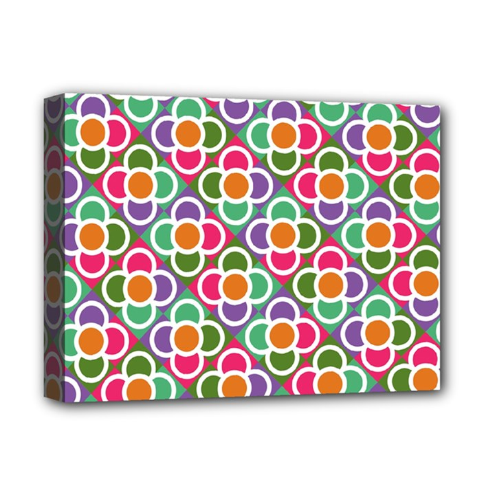 Modernist Floral Tiles Deluxe Canvas 16  x 12