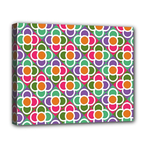 Modernist Floral Tiles Deluxe Canvas 20  X 16