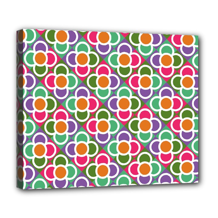 Modernist Floral Tiles Deluxe Canvas 24  x 20