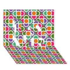 Modernist Floral Tiles LOVE 3D Greeting Card (7x5)