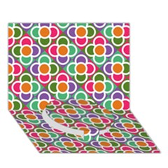Modernist Floral Tiles Circle Bottom 3D Greeting Card (7x5)