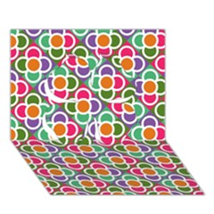 Modernist Floral Tiles Clover 3D Greeting Card (7x5)