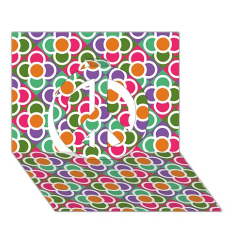 Modernist Floral Tiles Peace Sign 3D Greeting Card (7x5)