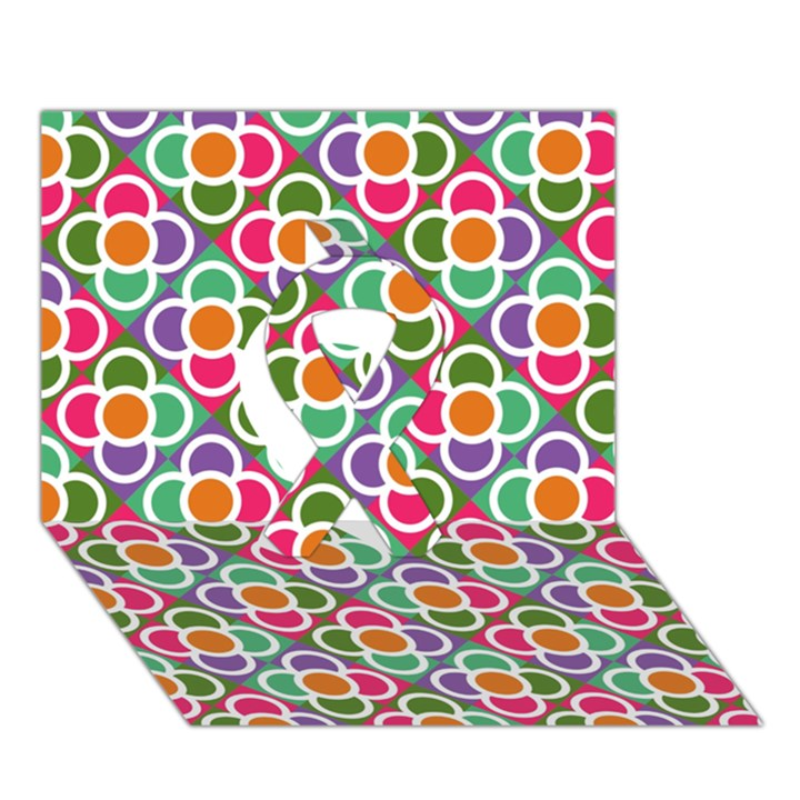 Modernist Floral Tiles Ribbon 3D Greeting Card (7x5)
