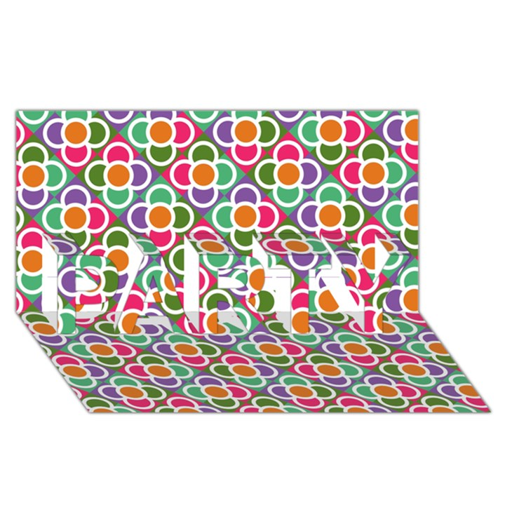 Modernist Floral Tiles PARTY 3D Greeting Card (8x4)