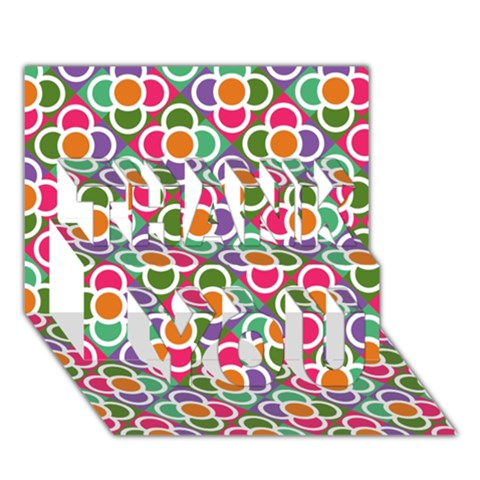Modernist Floral Tiles THANK YOU 3D Greeting Card (7x5)