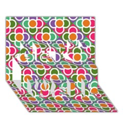 Modernist Floral Tiles Get Well 3D Greeting Card (7x5)
