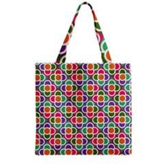 Modernist Floral Tiles Grocery Tote Bag