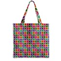 Modernist Floral Tiles Zipper Grocery Tote Bag View1