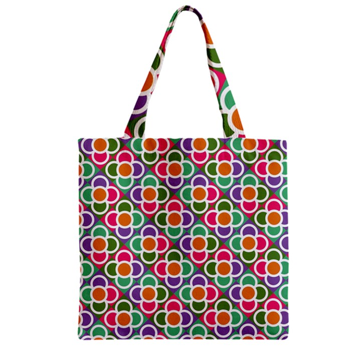 Modernist Floral Tiles Zipper Grocery Tote Bag