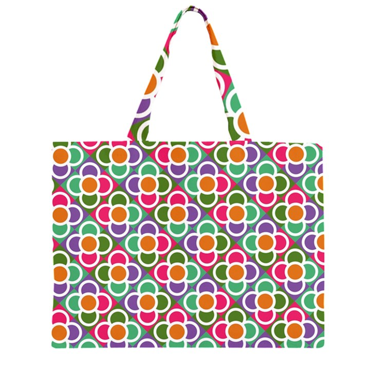 Modernist Floral Tiles Large Tote Bag